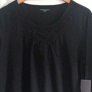 Laura Scott knit floral lace neck line top